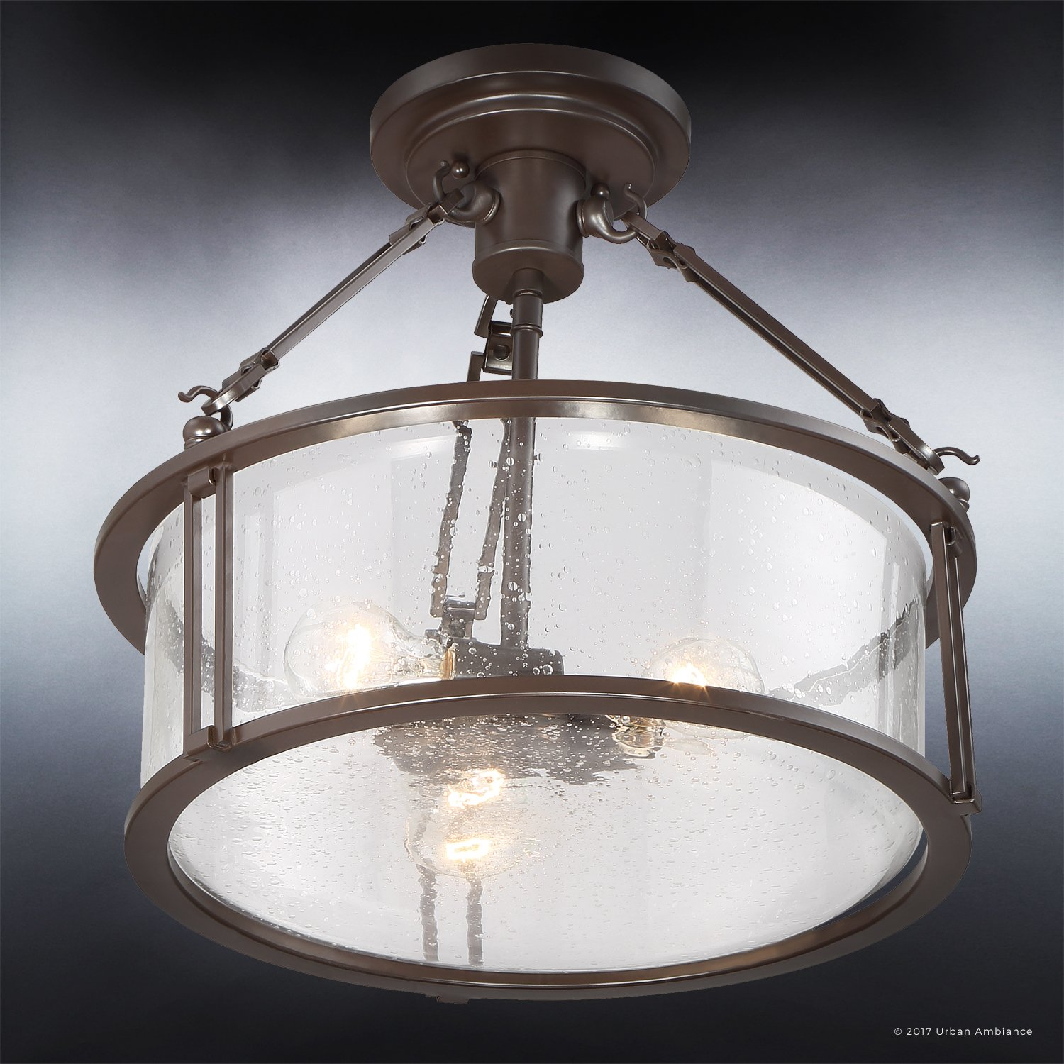 Luxury Industrial Semi-Flush Ceiling Light, Medium Size: 14.25''H x 16''W, with Western Style Elements, Rectangular Link Design, Elegant Estate Bronze Finish and Seeded Glass, UQL2133 by Urban Ambiance by Urban Ambiance (Image #4)