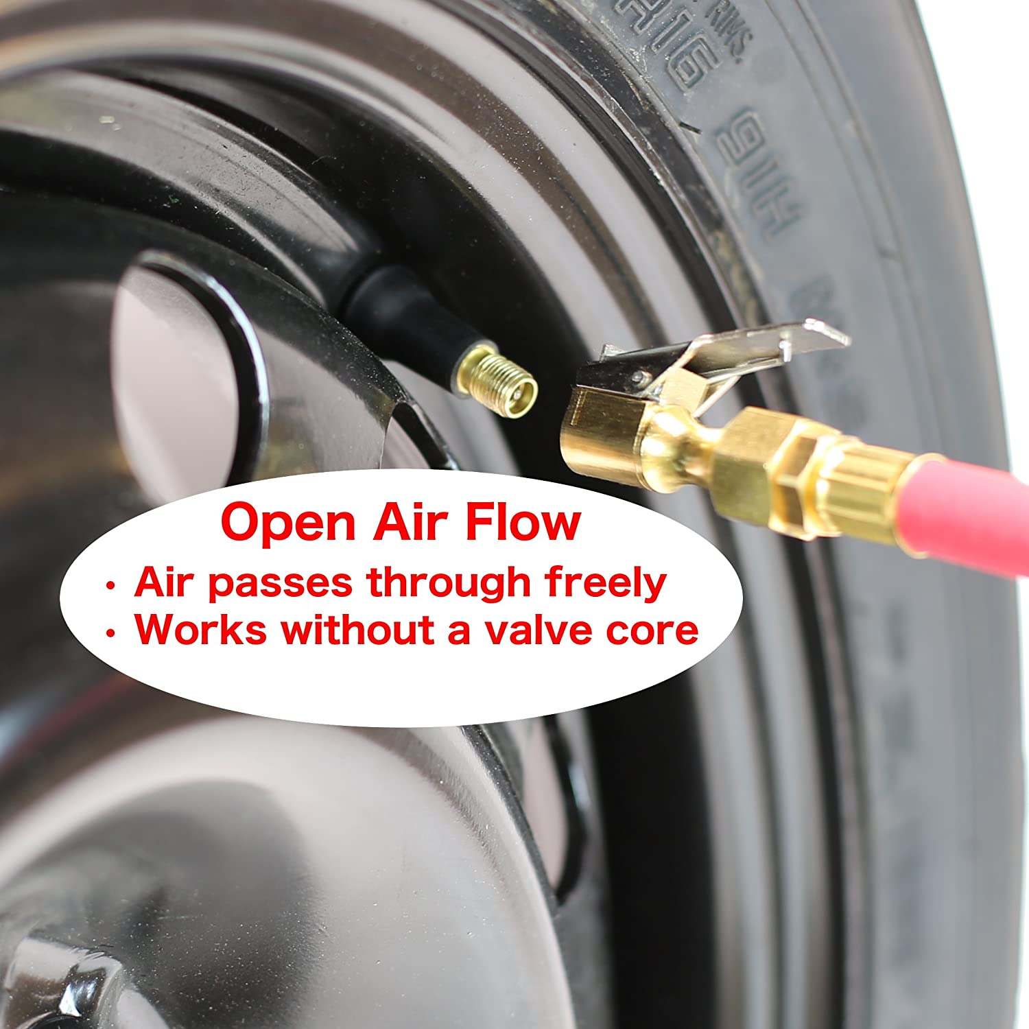 EPAuto 2 Pack Open Flow Straight Lock-On Air Chuck with Clip for Tire Inflator