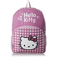 Hello Kitty Glitter White and Pink Checker Large Backpack 16
