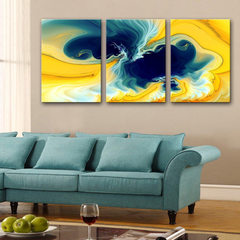 RUNDESHEBEI Y&M Fantasie gelb gelb gelb dekorative Malerei, Rahmenlos Gemälde, dekorative Malerei das Wohnzimmer Flur, 35  50cm3pc b4c35b