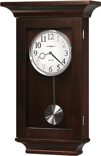Howard Miller Gerrit Wall Clock 625-379 Black Coffee with Quartz, Dual-Chime Movement