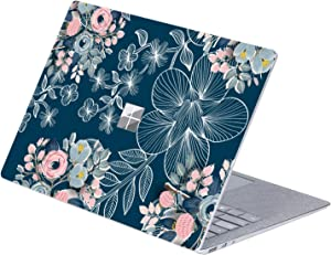 MasiBloom Top Side Sticker Decal for 13.5 inch Microsoft Surface Laptop 3 & 2 & 1 (2019/18/17 Released) Anti-Scratch Vinyl Laptop Cover Skin, Not Compatible with Surface Book (Rose- Navy Blue)