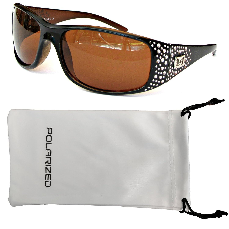 Vox Women's Polarized Sunglasses Designer Fashion Eyewear w  Microfiber Pouch  Black & Amber Frame  Amber Lens