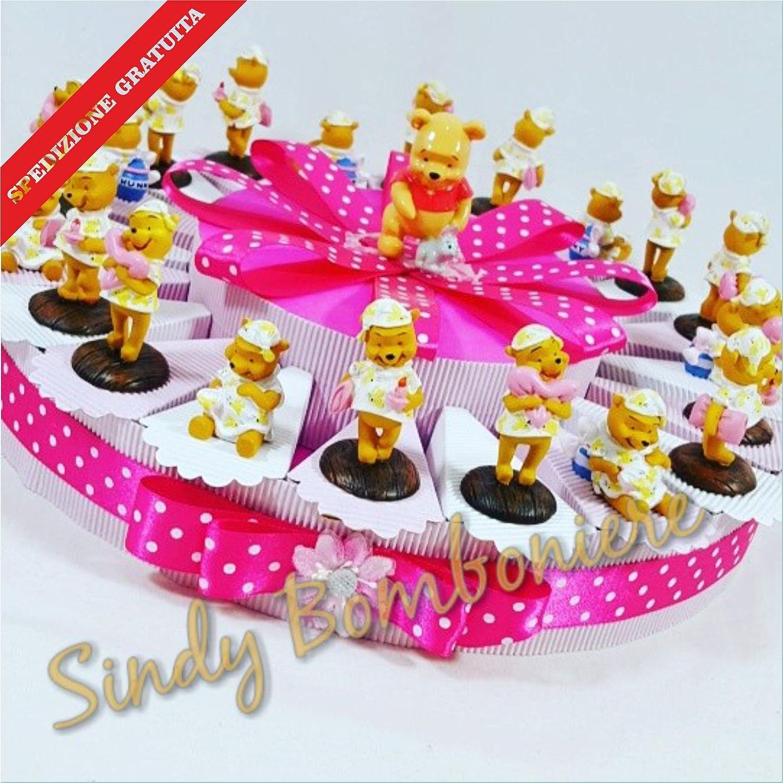 Torte Bomboniere Winnie the Pooh in Pyjama Versand inklusive Mädchen Geburtstag Geburt Torta da 20 fette