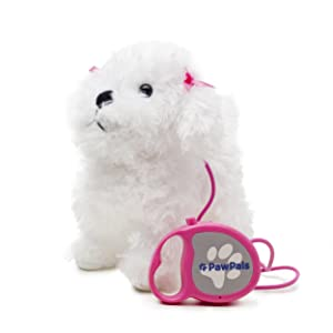 Meva PawPals Kids Walking and Barking Puppy Dog Toy Pet with Remote Control Leash … (White)