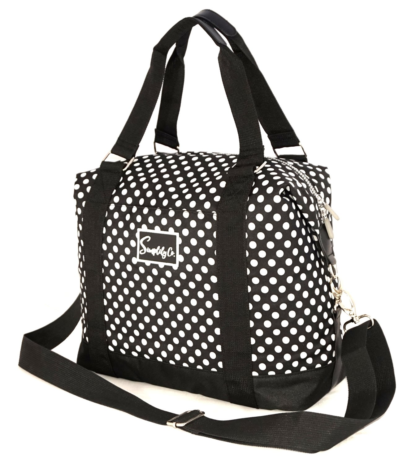 Travel Weekender Overnight Carry-on Under the Seat Shoulder Tote Bag (Small, Black & White Polka Dot)