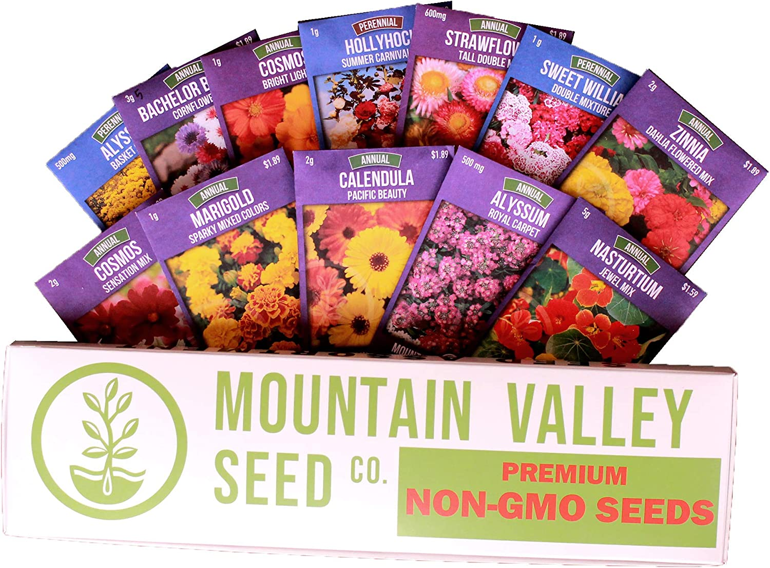 Annual Flower Garden Seed Collection - Deluxe Assortment - 12 Flower Gardening Seed Packets: Nasturtium, Hollyhock, Sweet William, Strawflower, More