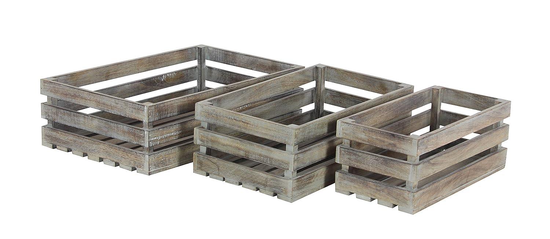 Set of 3 Deco 79 66179 Distressed Brown Mango Wood Crates 16 x 19 x 22,
