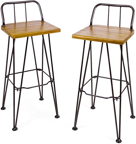 Christopher Knight Home Denali Outdoor Industrial Acacia Wood Barstools
