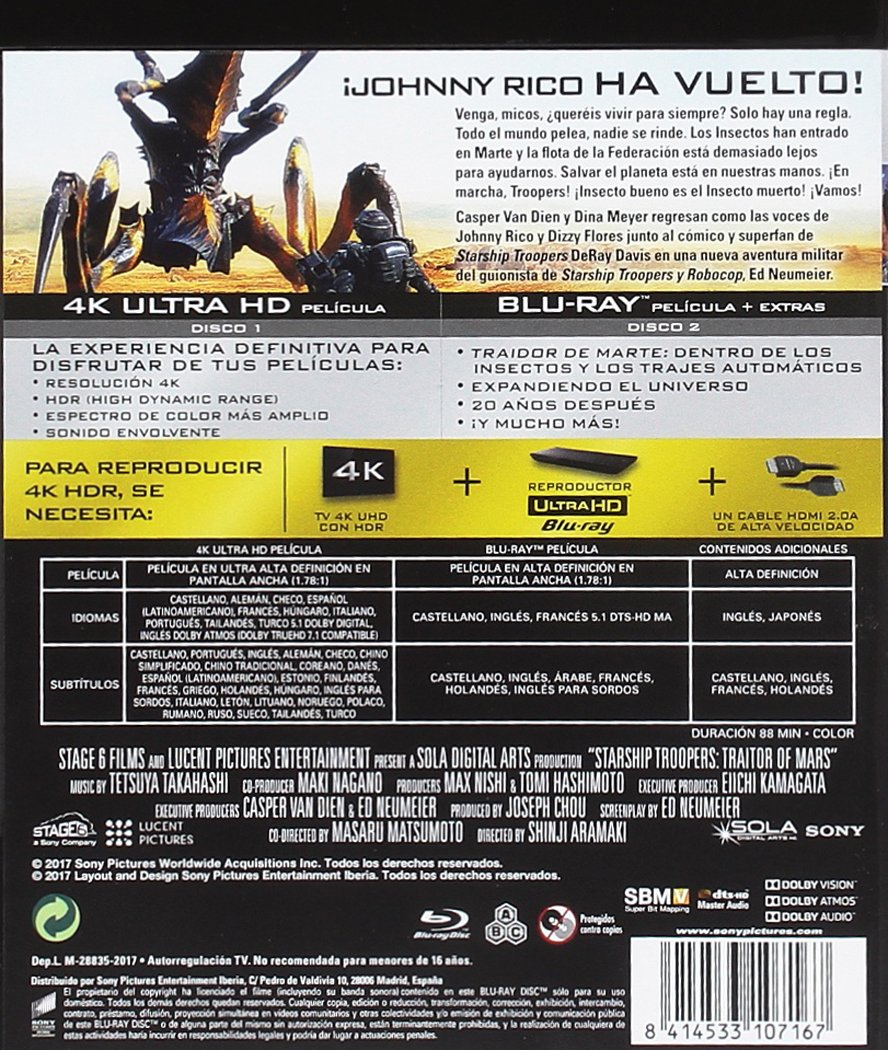 Starship Troopers Traidor De Marte 4K UHD + BD Blu-ray: Amazon.es ...
