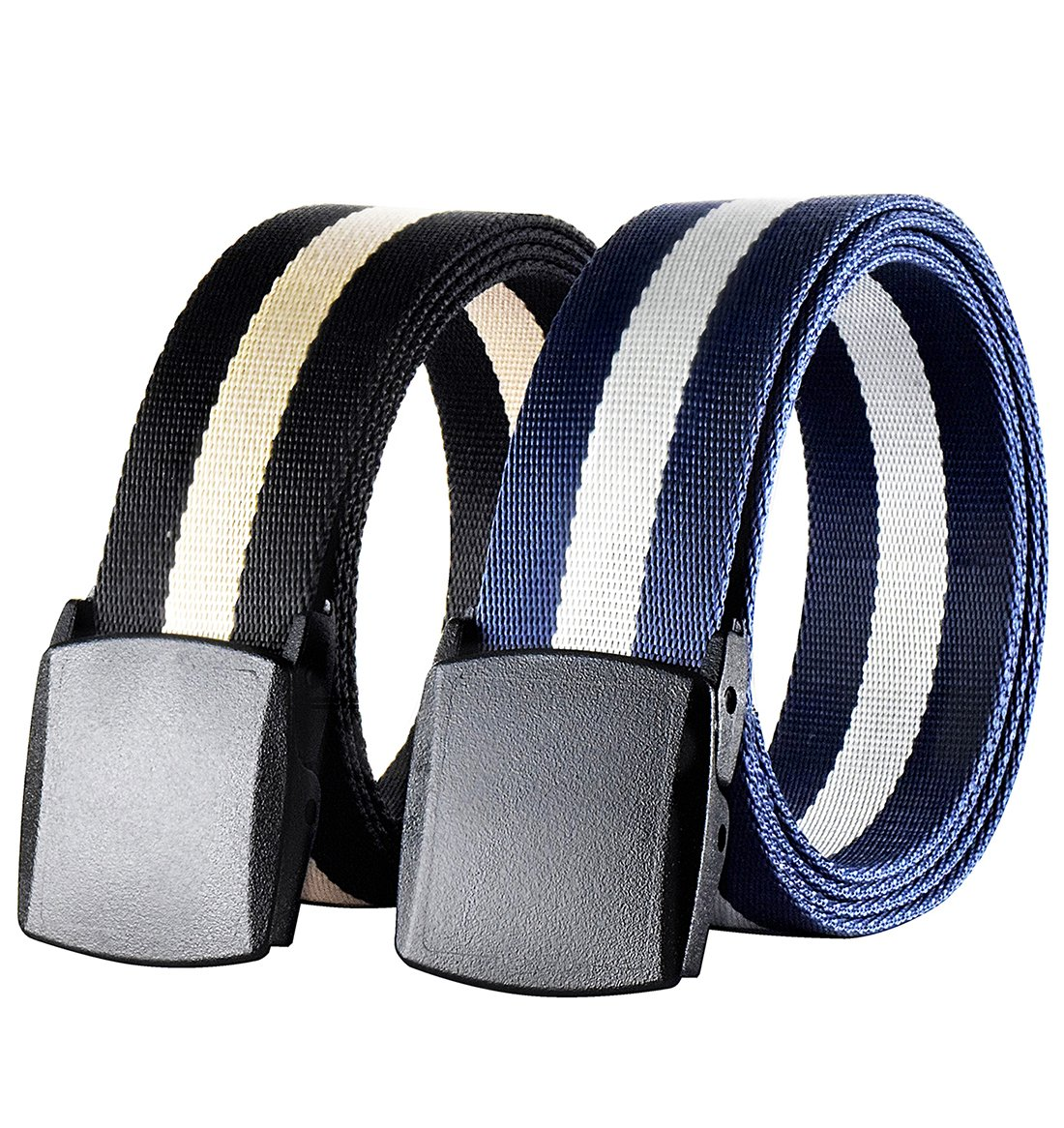 Outdoor Nylon Belts Military Tactical Webbing - No Metal Buckle,2 Pack