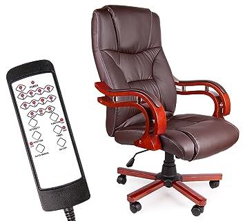 Bürostuhl Massagesessel Drehstuhl mit Wärmefunktion Bürostuhl Sessel Schwarz Neu