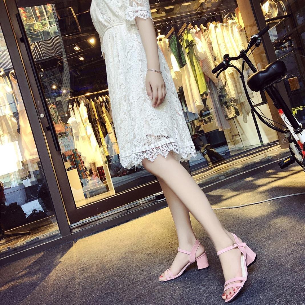 f8c9c7b6312d OverDose Ladies Block High Heel Sandals Flowers Adorn Buckle High Heels  Shoes larger image