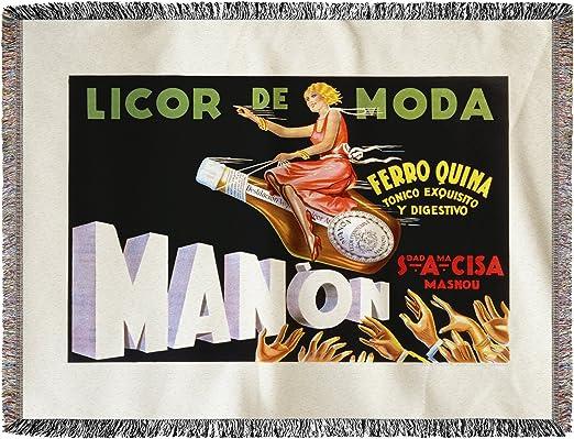 Manon – Licor de moda vintage Póster de España (60 x 80 manta de chenilla, hilo): Amazon.es: Hogar