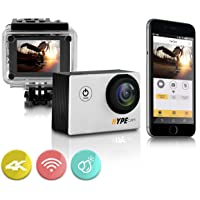 Premium 4k WIFI Sports Action Camera | Ultra HD Waterproof Camcorder | 16MP 170° Wide Angle Len | 2 Inch LCD Screen and Full Accessory Kit (Silver)
