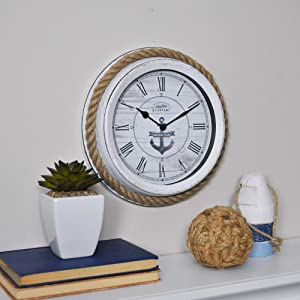 FirsTime & Co. Dock Rope Wall Clock, 10, Distressed White