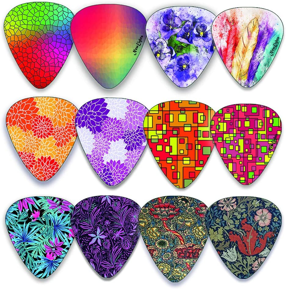 Female Guitar Players Medium Celluloid Assorted Variety 12-Pack Collection Women Pretty Unique Designs Cool Pink Leopard Ladies Best Gifts for Princess Kids Teens Guitar Picks for Girls
