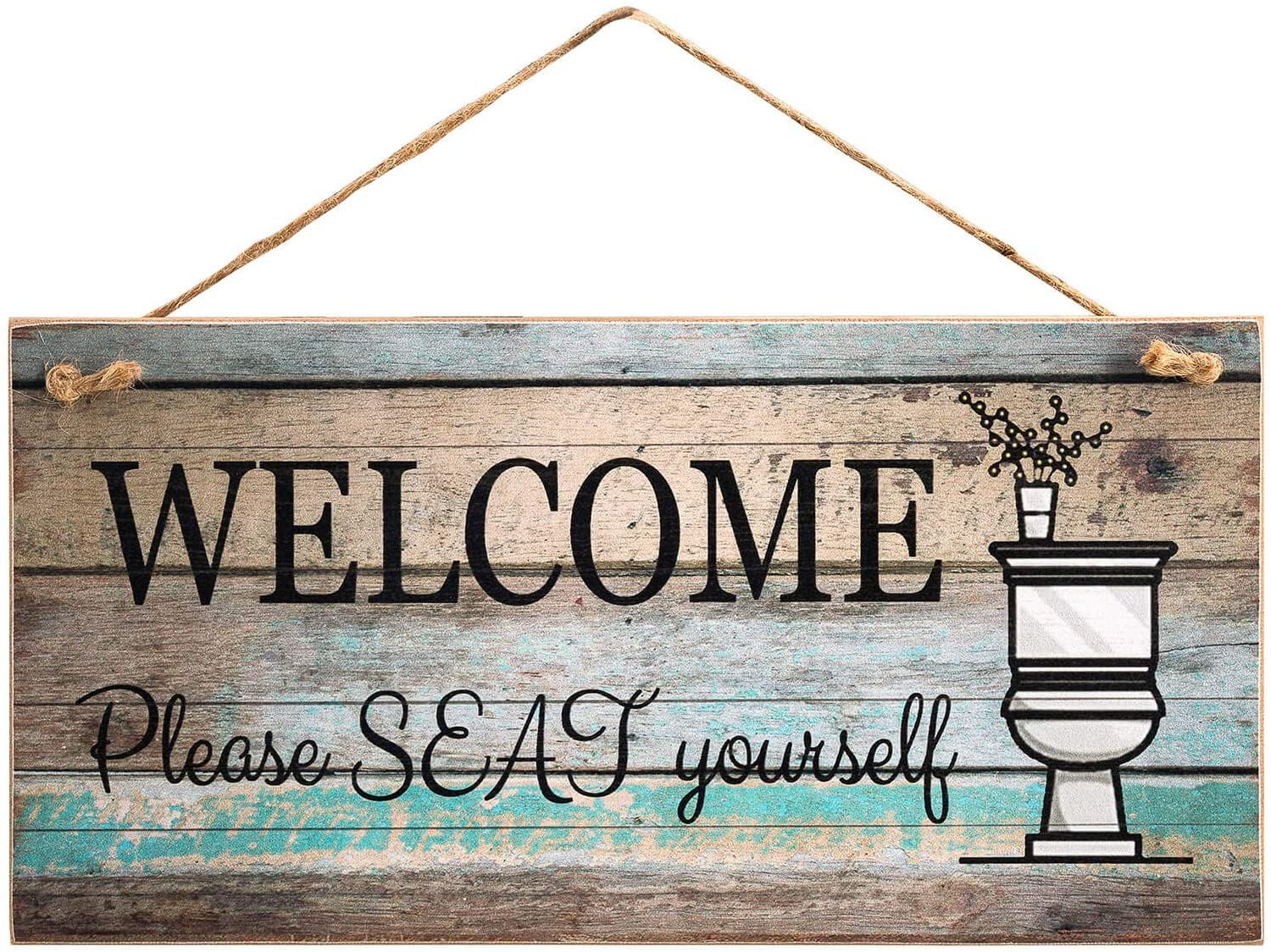 """Yankario Funny Wall Décor Sign for Bathroom, Farmhouse Rustic Bathroom Wall Art Pictures Decoration, 12""""×6"""" Please Seat Yourself Wood Plaque"""