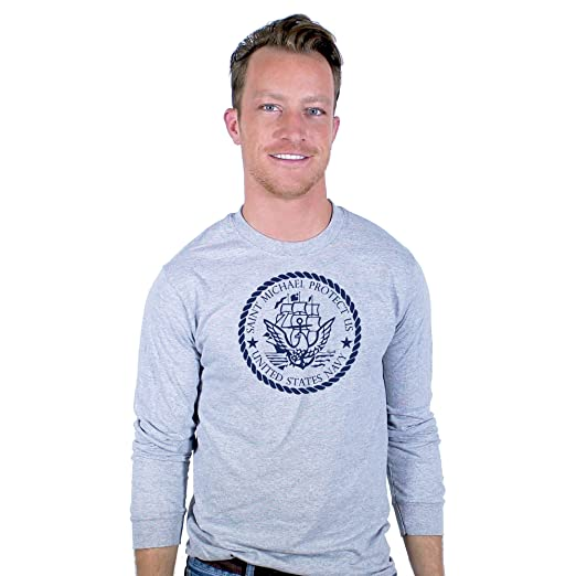 3cf9fe073 Image Unavailable. Image not available for. Color: United States Navy St.  Michael Protect Us Grey Long Sleeve T-Shirt Unisex Pullover