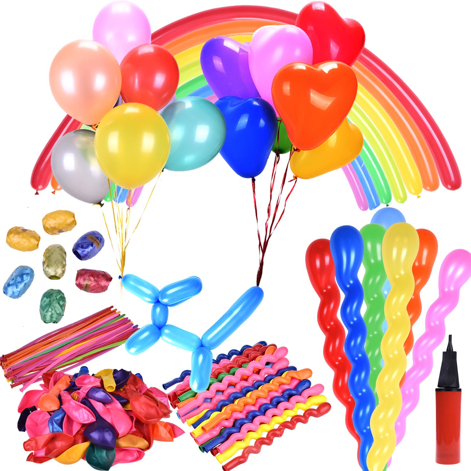 180 PCs Party Favor Balloons Assorted Color 4 Styles for Wedding,Birthday Party Decorations and Supplies (1 Air Pump Inflator and 8 Ribbons Included)