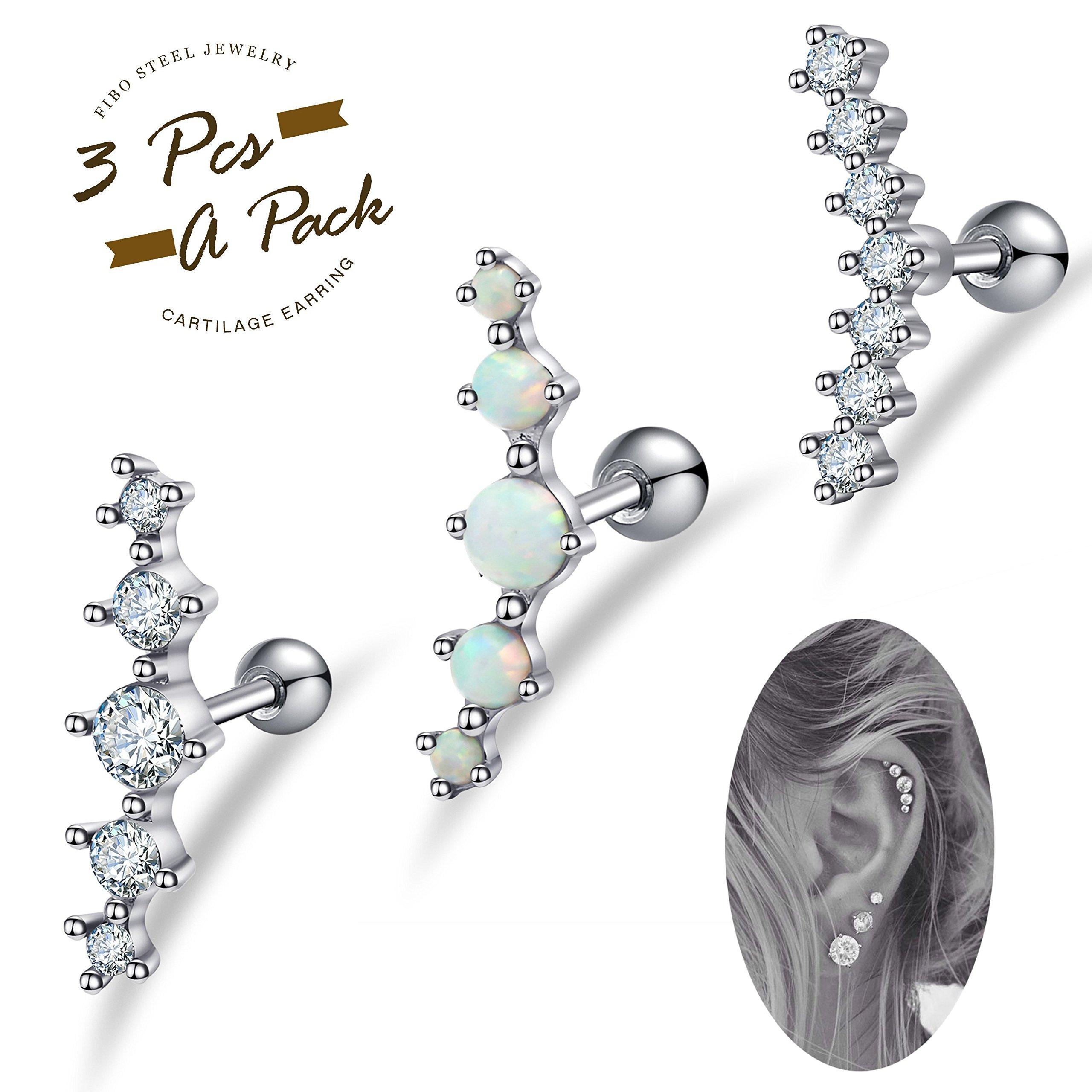 FIBO STEEL 3 Pcs 16G Stainless Steel Cartilage CZ Stud Earrings for Women Girls Helix Conch Daith Piercing Jewelry Set by FIBO STEEL