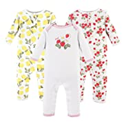 Hudson Baby Baby Cotton Union Suit, 3 Pack, fruit, 3 Months