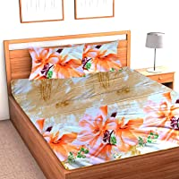 SINGHS MART Presents Floral Design Print Glace Cotton King Size 90x100 Double Bedsheet with 2 Pillow Covers (Multi Colour)