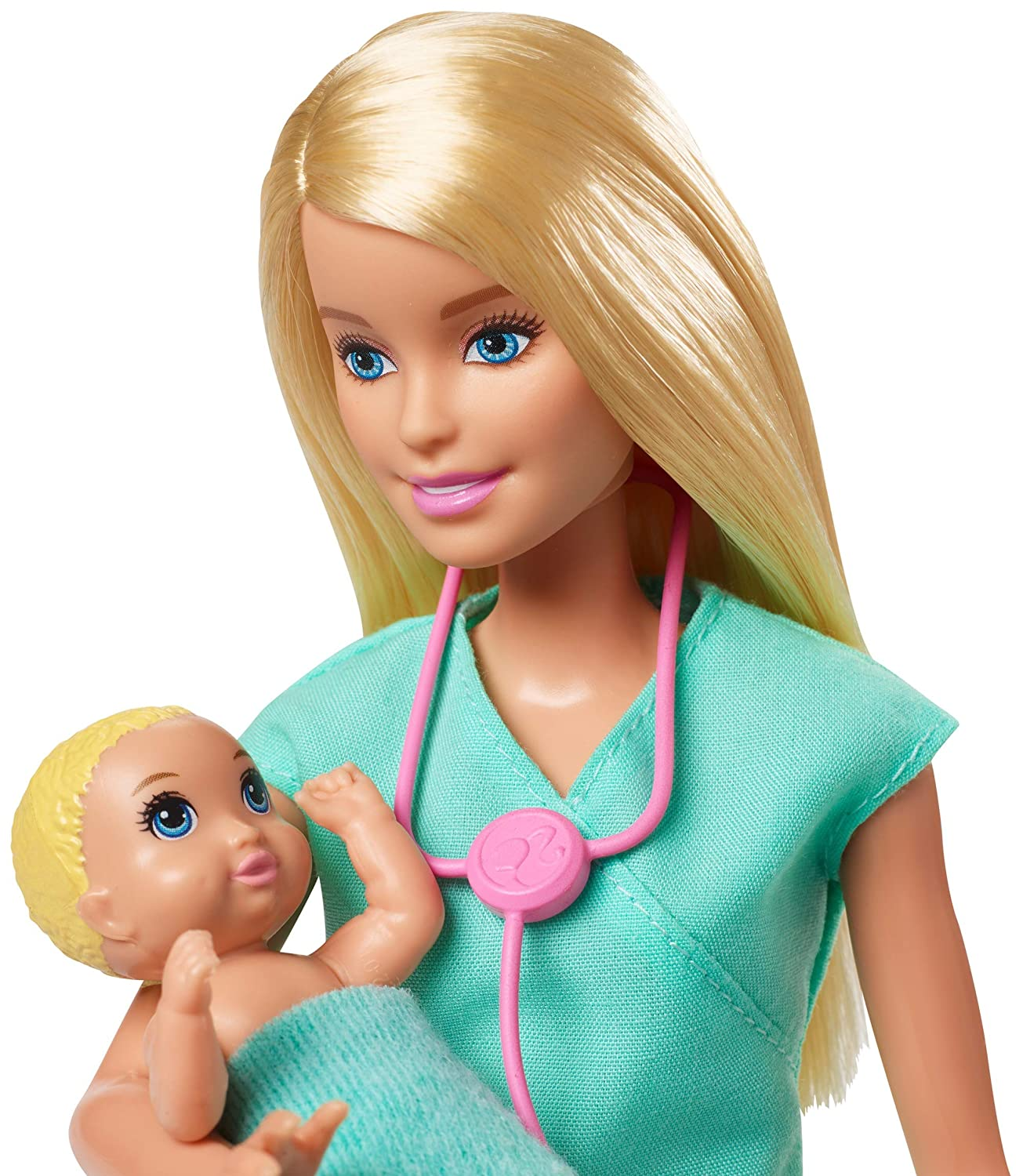 2 Infant Dolls Toy Pieces Barbie Baby Doctor Playset with Blonde Doll Multi