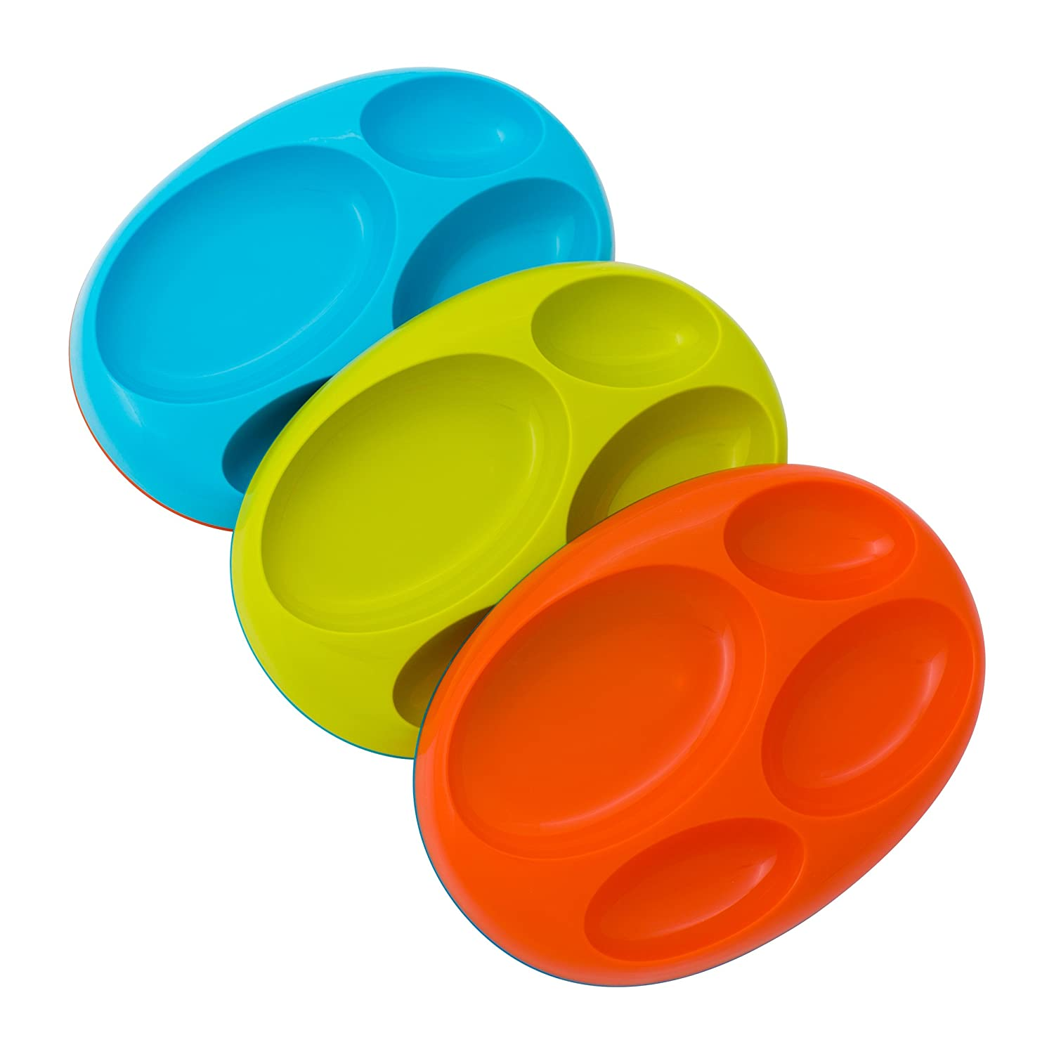 Boon Platter Edgeless Nonskid Divided Plate, Blue/Orange/Green includes 3 pieces
