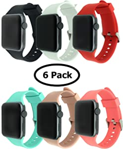 CMG 6 Pack Bands for Apple Watch, Soft Silicone Sport Strap Replacement Bracelet Wristband for Series 3, Series 2, Series 1, Nike+, Edition