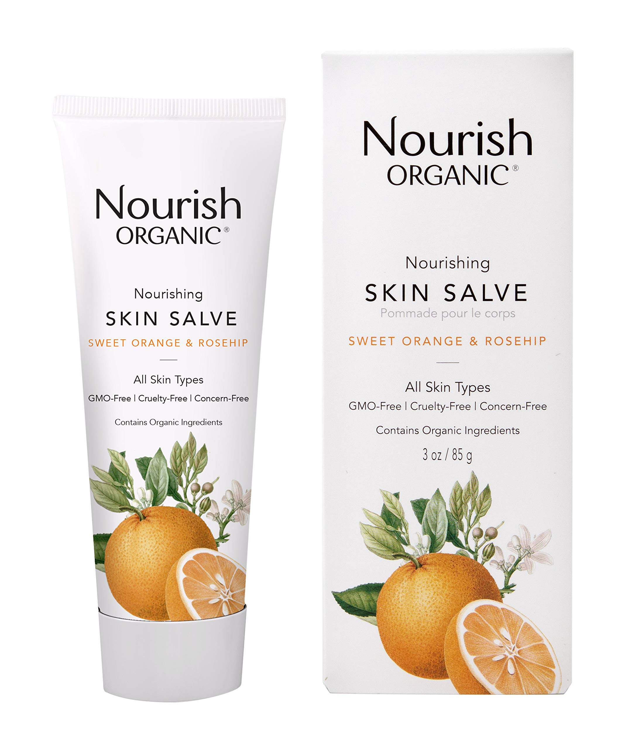 Nourish Organic Skin Salve, Sweet Orange & Rose Hip, 3 Ounce by Nourish Organic