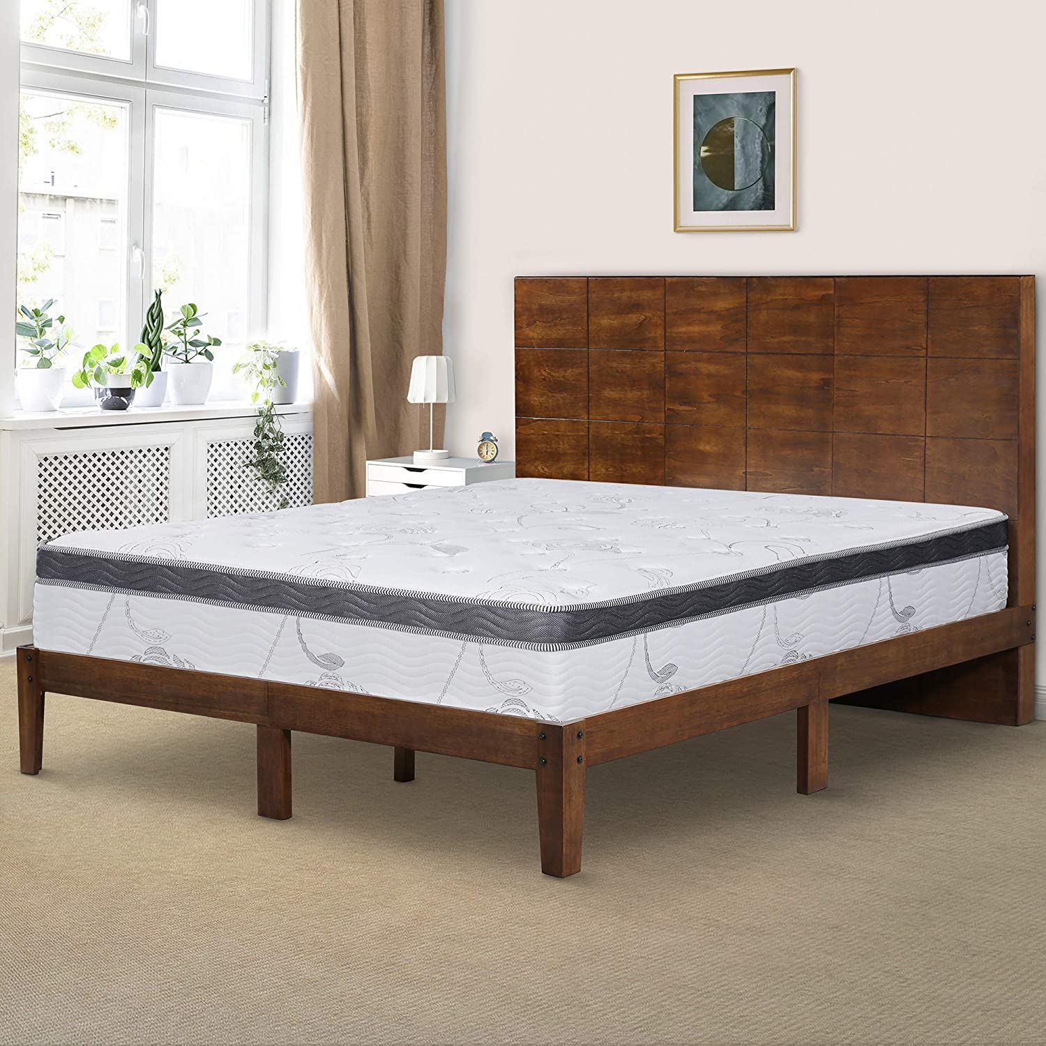 Ecos Living 48 Inch High Headboard Wood Platform Bed Frame with Slats No Box Spring Queen