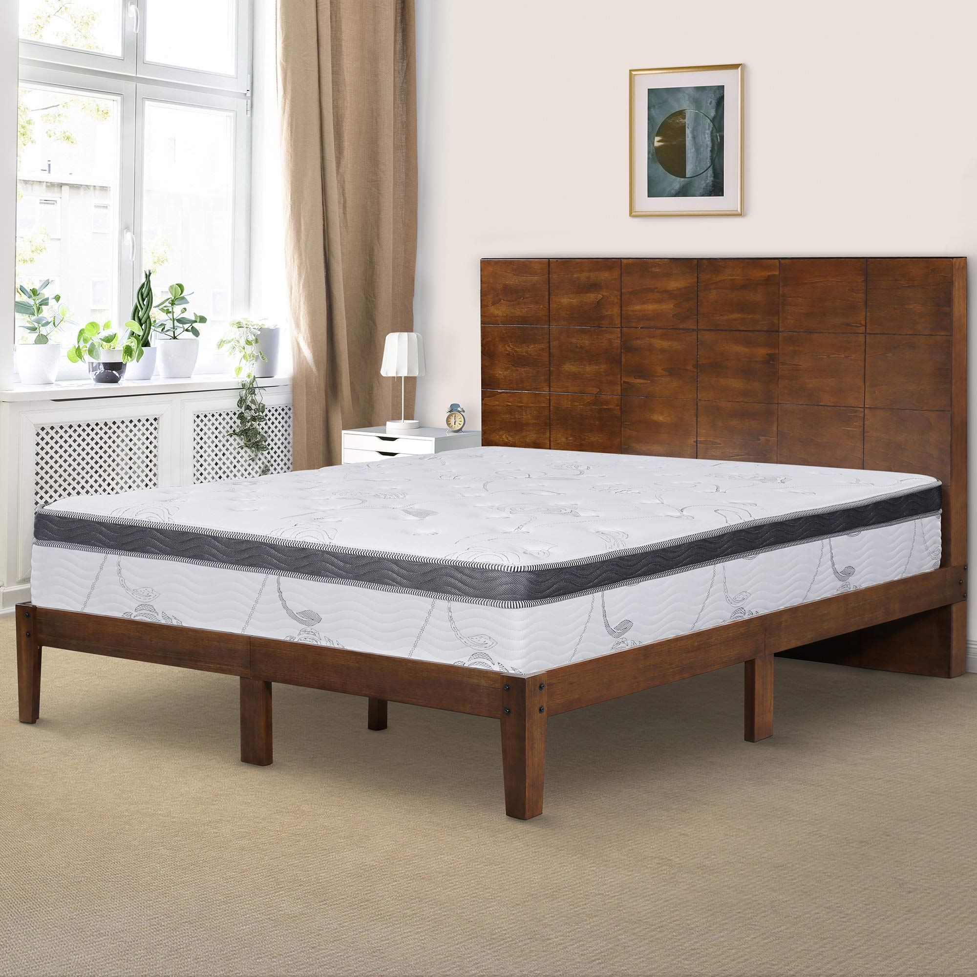 Ecos Living 48 Inch High Headboard Wood Platform Bed Frame with Slats/No Box Spring, King by Ecos Living