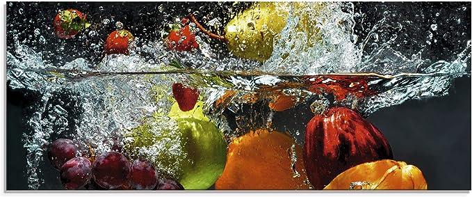 Küchenrückwand Spritzschutz aus Glas 125x50 Essen /& Getränke Erdbeeren Wasser