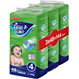 Fine Baby Diapers, Size 4, Large 7–14kg, Jumbo Pack, 3 packs of 48 diapers, 144 total count