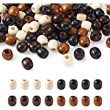 Craftdady 200Pcs Large Hole Barrel Wood European Loose Beads 4 Colors Natural Wooden Dreadlock Hair Braid Beads 16x16-17mm fo