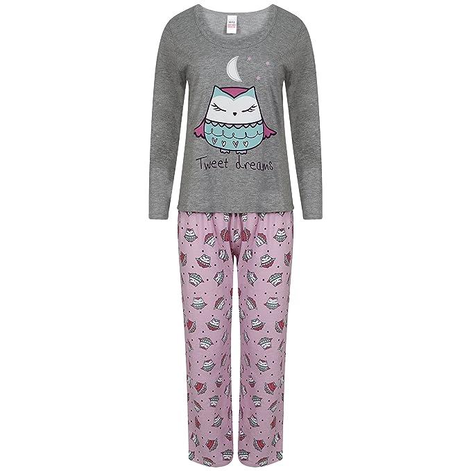 Pijama de manga larga para mujer, algodón, diseño de búho multicolor negro/rosa 46-48: Amazon.es: Ropa y accesorios
