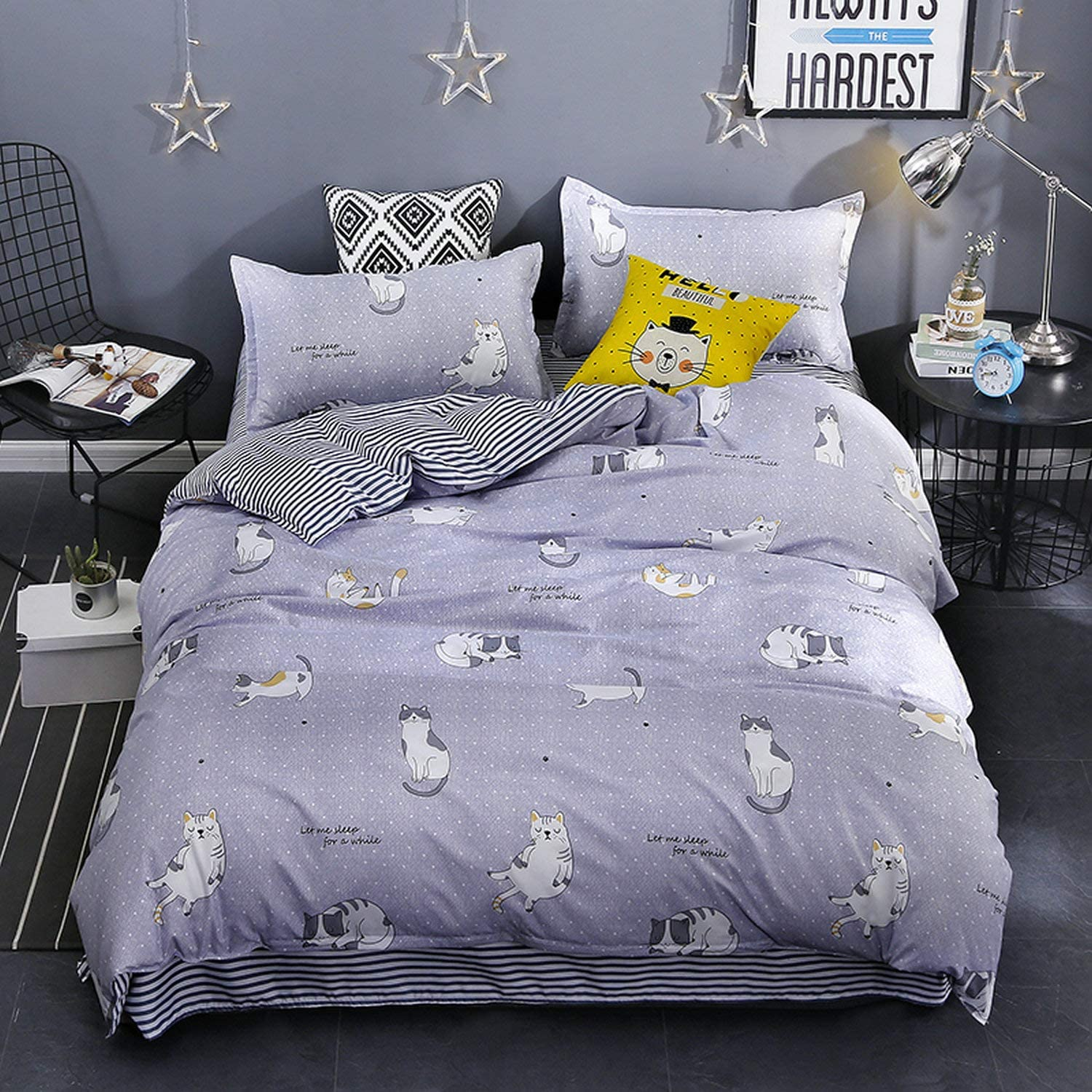 "KFZ Lucky Cat Print Grey Duvet Cover Full Set [3pcs Kids Bedding with 80""x86"" Duvet Cover Without Comforter Insert, 2 Pillow Cases Standard Size] Animal Themed Soft Hypoallergenic Microfiber Bed Set"