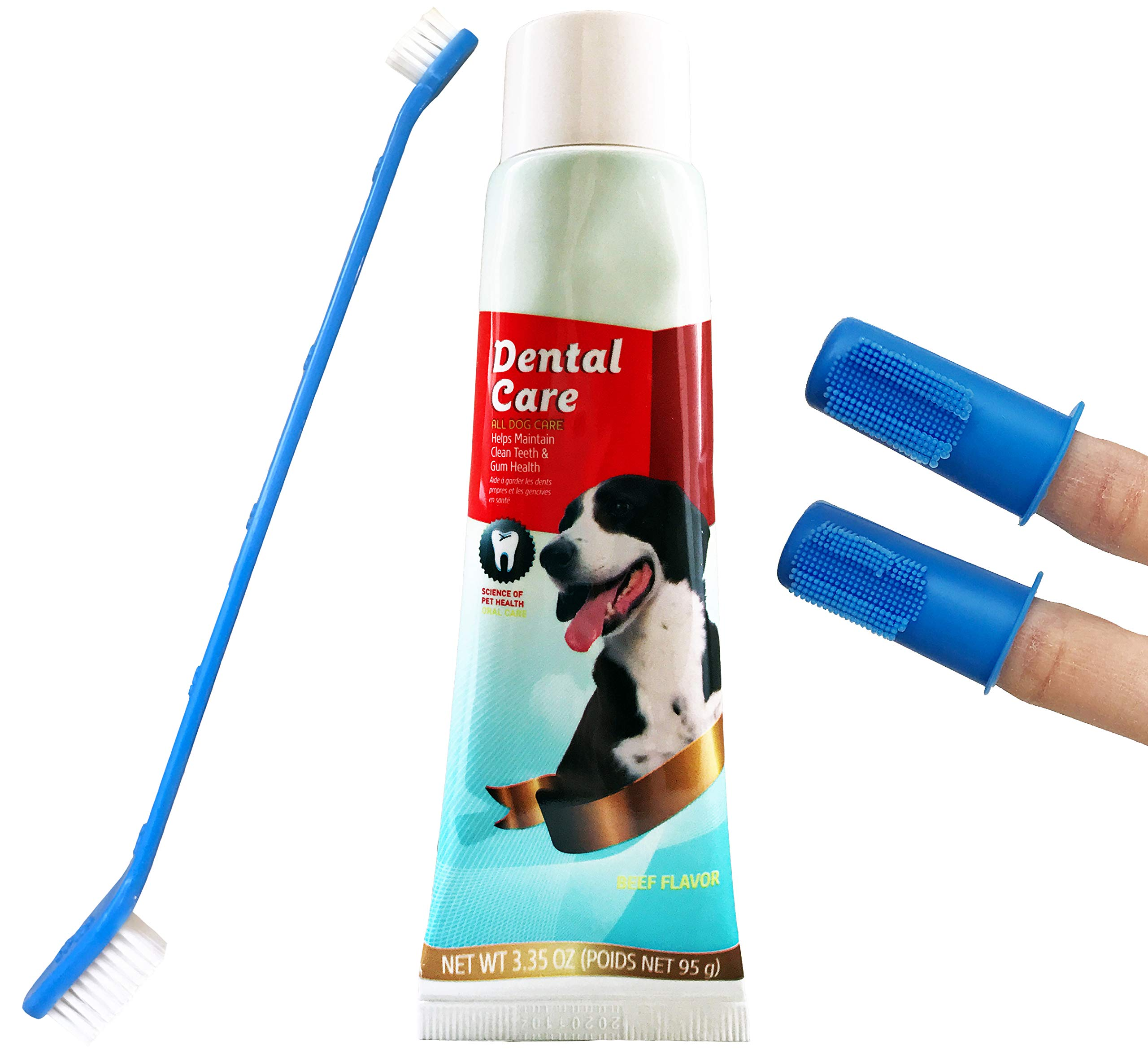 Dog Teeth Cleaning Set with Beef Flavored CET Toothpaste for Dogs Best Dog Toothbrush Set Includes 2 Puppy Finger Toothbrushes and Dual-Headed Toothbrush for Large and Small Dogs