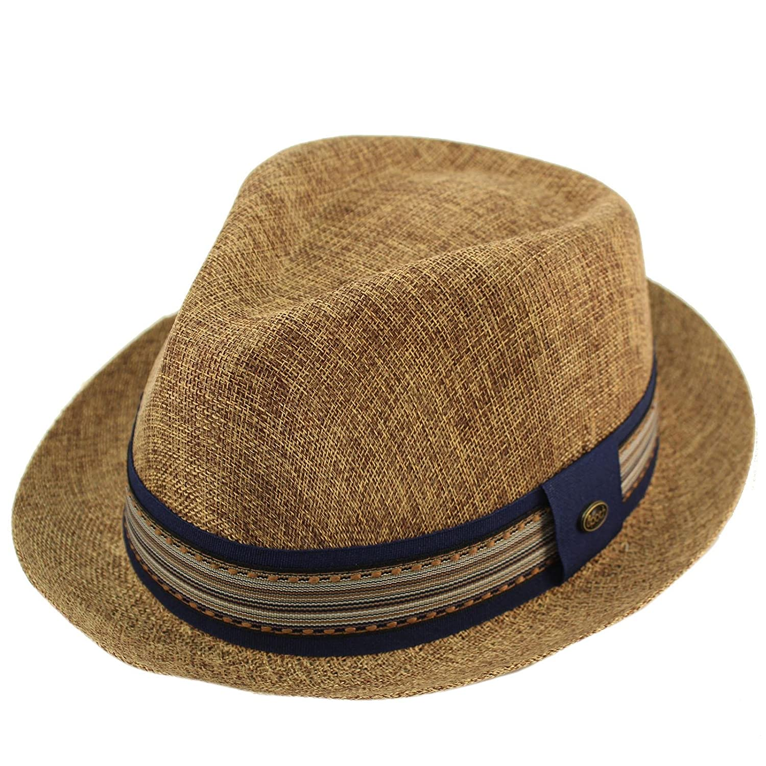 3a8c4ca7427 Epoch Men s Primo Summer Lightweight Linen Derby Fedora Upturn Brim Hat at  Amazon Men s Clothing store