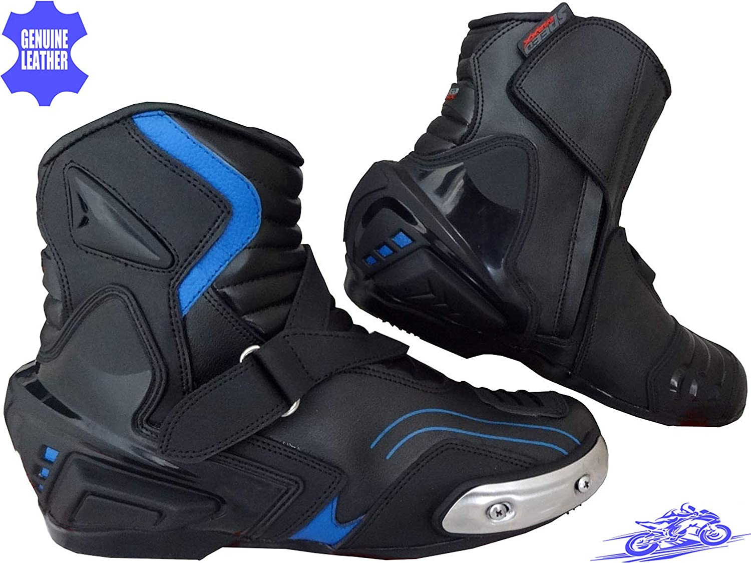 Speed MaxX Mens Grey Web Black Motorbike Motorcycle Racing Leather Shoes Boots 11 UK