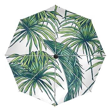 baihuishop Vintage Tropical flores Hojas al viento lluvia paraguas Auto abierto cerca 3 plegable resistente protección
