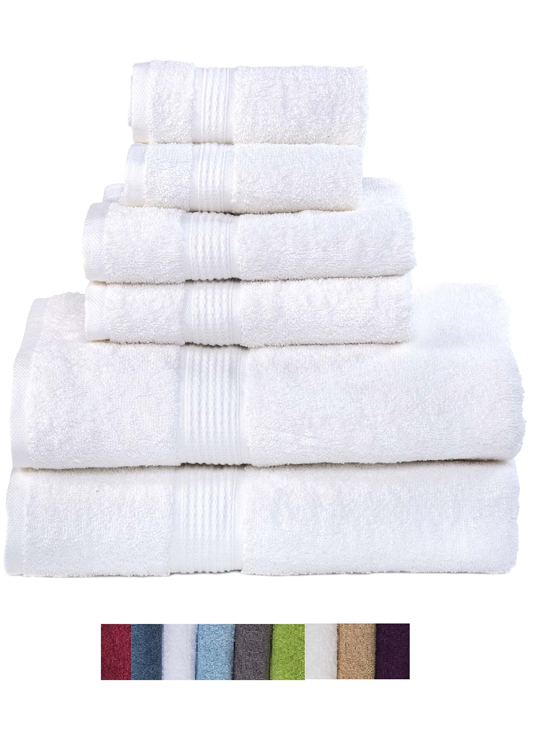 Hydro Basics Fade-Resistant 6-Piece Cotton Towel Set, 100% Cotton terry bathroom set, Soft, Absorbent, Machine Washable, Quick Dry (white) by Hydro