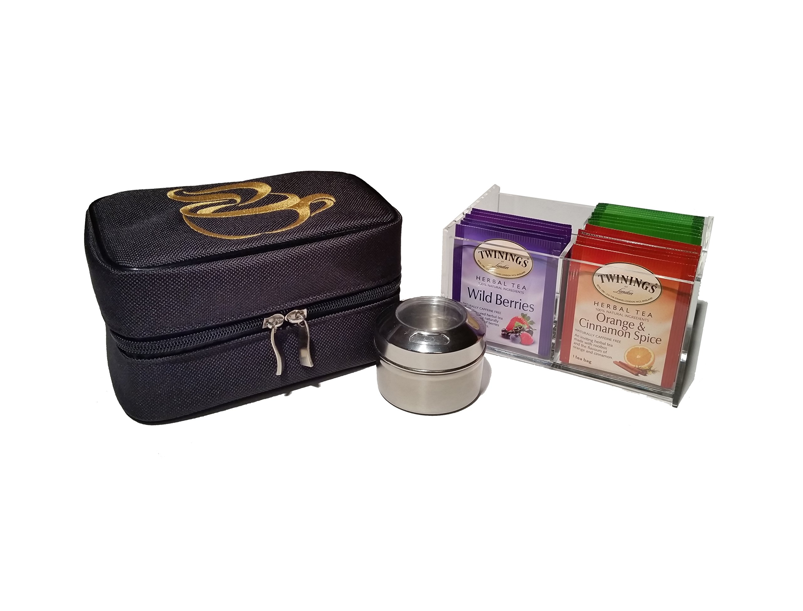 Teacaso Travel Tea Chest Organizer w/ Tea Bags and Spice Jar - Great for Home, Office, & Travel!