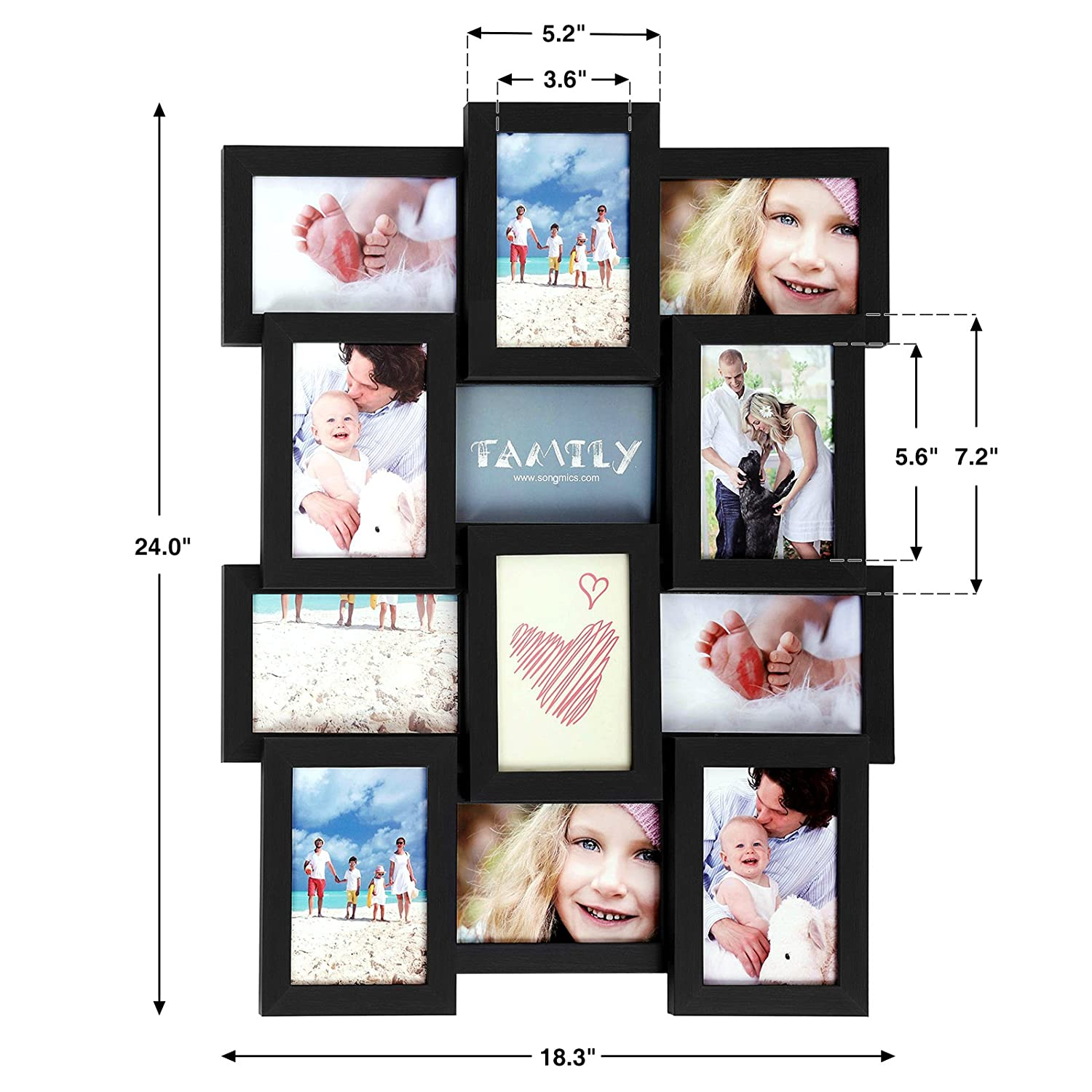 Assembly Required SONGMICS Picture Frames for 12 Photos in 4 x 6 Collage Multiple Photos Glass Front Black Wooden Grain URPF26BK