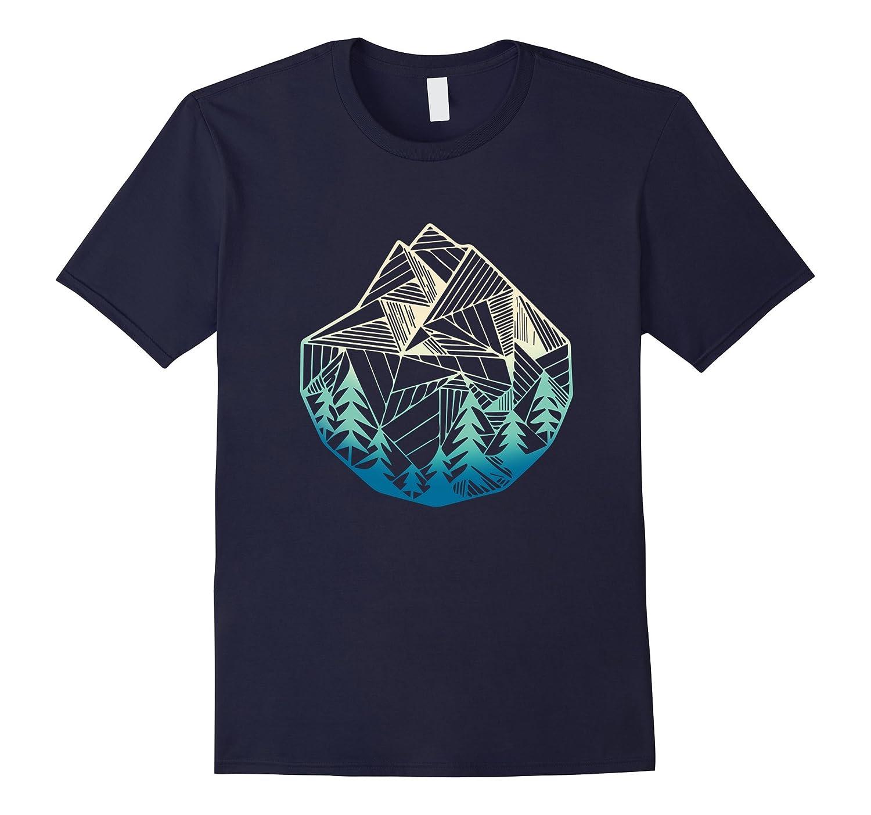 Minimal Mountains Geometry Outdoor Hiking T-Shirt-FL