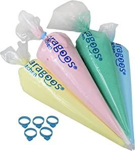 Saragoos-Kitchen Disposable Piping Bags 100 Pack, 14 Inch Disposable Pastry bags, Cake Decorating Bags, Food Grade Icing Bags, Anti-Burst Cupcake Icing Bags Fits all Piping Tips Size - 5 Bag Ties!