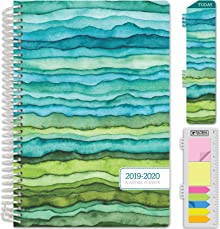 """HARDCOVER Academic Planner 2019-2020: (June 2019 Through July 2020) 5.5""""x8"""" Daily Weekly Monthly Planner Yearly Agenda. Bonus Bookmark, Pocket Folder and Sticky Note Set (Green Waves)"""