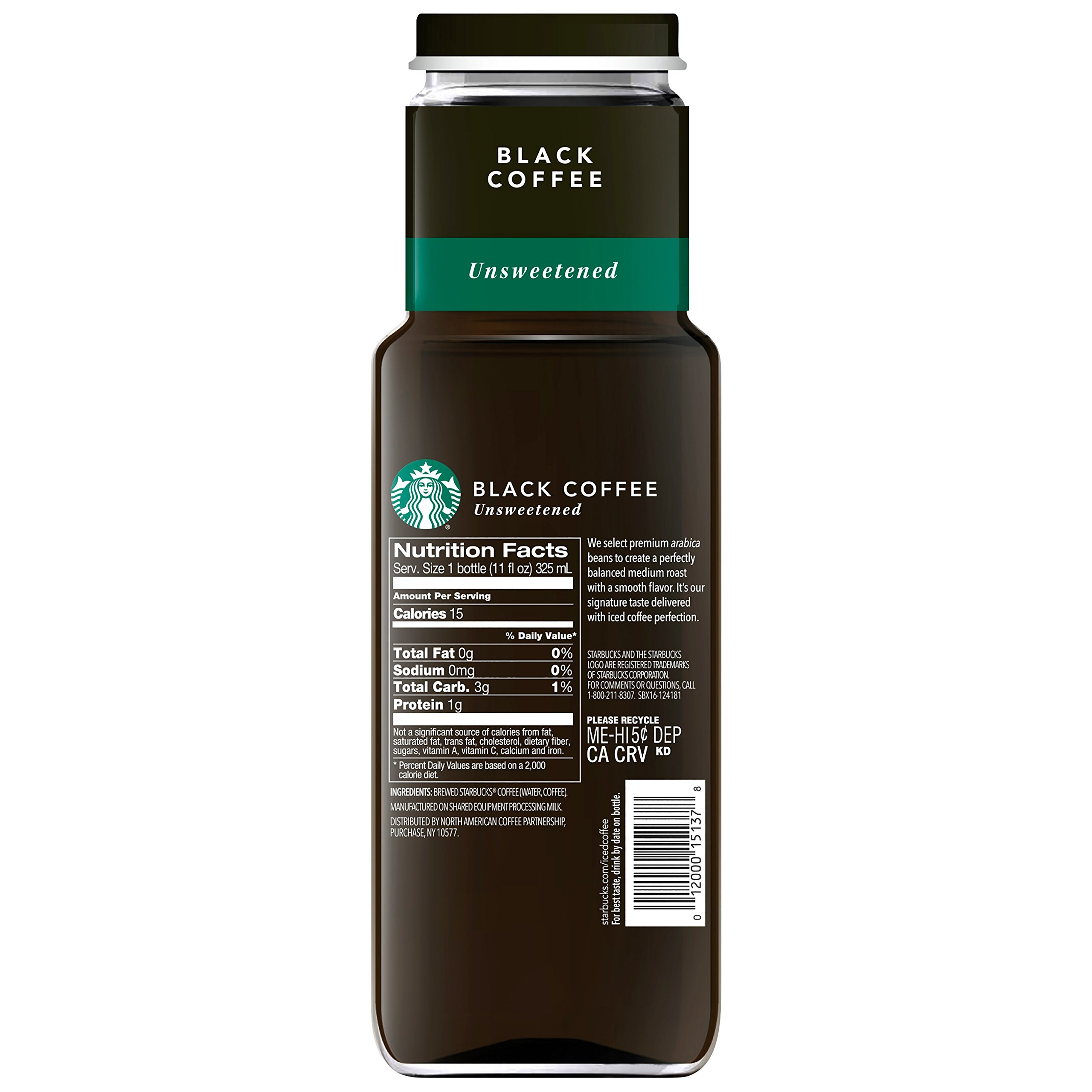 Starbucks Iced Coffee, Black Unsweetened, 11oz Bottle by Starbucks (Image #2)