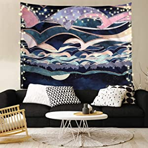 Joddge Sea Tapestry Ocean Tapestry Moon Tapestry Nature Landscape Tapestry Wall Hanging for Room(59.1 x 78.7 inches)